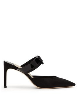 Andie Bow Trim Moire Mules by Sophia Webster