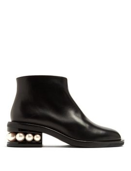 Casati Faux Pearl Heeled Leather Ankle Boots by Nicholas Kirkwood