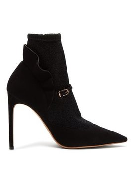 Lucia Lurex Panelled Suede Ankle Boots by Sophia Webster