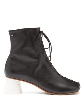 Lace Up Leather Ankle Boots by Mm6 Maison Margiela