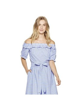 Women's Striped Off The Shoulder Short Sleeve Bardot Top   Navy/White   Vineyard Vines® For Target by Navy/White
