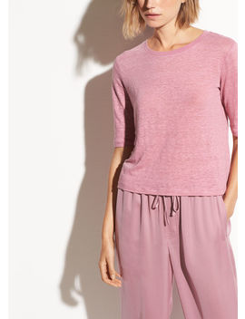 Elbow Sleeve Linen Crew by Vince