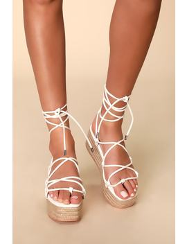 Aly White Lace Up Flatform Espadrilles by Lulu's