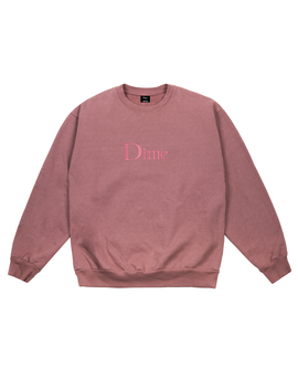 Dime Classic Embroidered Crewneck Fuchsia by Adrift