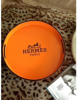 Round Orange H E R M E S Tray   Black Trim, Horse And Cart, Equestrian, Orange, Hermes Decor, Designer Inspired, Luxury Gifts, Christmas by Etsy