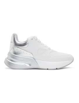 White & Silver Oversized Runner Sneakers by Alexander Mcqueen