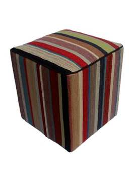 """arshs-donna-red_brown-kilim-upholstered-handmade-ottoman(17""""x17""""x18"""") by arshs-fine-rugs"""