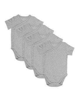 Baby Side Snap Bodysuit Set, 100% Cotton Boy Girl Unisex Kimono Onesie, 4 Pack by Goobie Baby