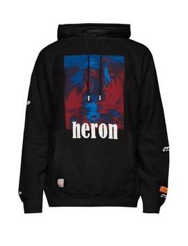 Heron Print Cotton Hooded Sweatshirt by Heron Preston