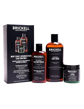 Brickell Men's Daily Advanced Face Care Routine I   Gel Facial Cleanser Wash + Face Scrub + Face Moisturizer Lotion   Natural & Organic   Unscented by Brickell Men's Products