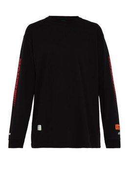 Racing Logo Print Sleeve Cotton Sweatshirt by Heron Preston