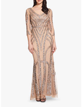 Adrianna Papell Beaded Maxi Dress, Champagne/Silver by Adrianna Papell