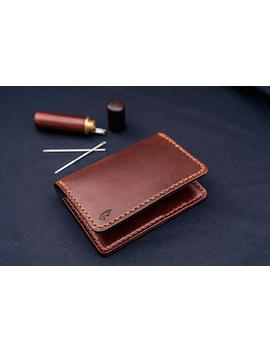Horween Wallet In Brown Chromexcel Leather/Mens Bifold, Business Card, Purse, Minimalist Fron Pocket Wallet by Amazon
