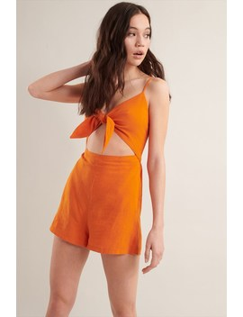 linen-knot-front-romper by garage