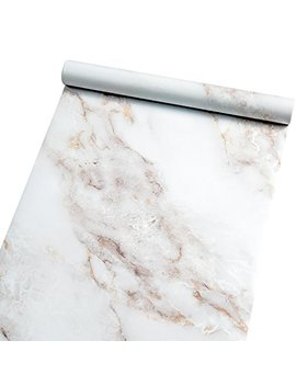 "Homein Marble Self Adhesive Paper White 11.5"" X59"" Peel And Stick Vinyl Film For Furniture Decorative Matte Granite Cover Waterproof Removable Wallpaper Roll For Countertops Cabinet Bathroom by Homein"