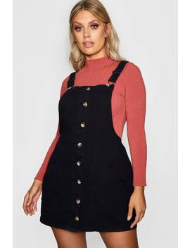 Plus Horn Button Denim Pinafore Dress by Boohoo