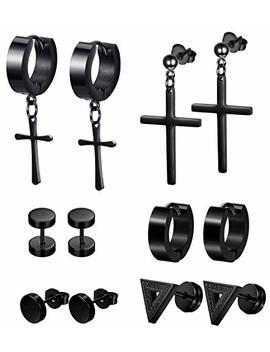Lolias 6 Pairs Black Stud Earrings Hoop Earrings Set For Men Women Stainless Steel Huggie Earrings Piercing by Lolias