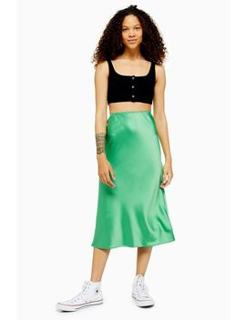 Petite Satin Bias Skirt by Topshop