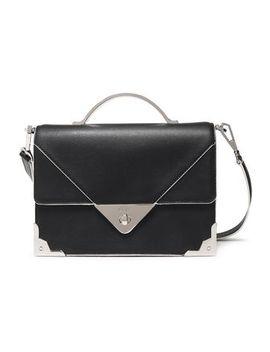 Silver Embellished Textured Leather Shoulder Bag by Dkny