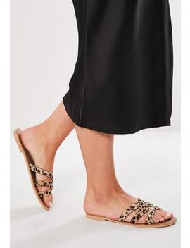 Brown Leopard Real Leather Sandals by Missguided