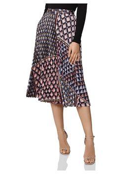 Leah Pleated Geo Print Skirt by Reiss