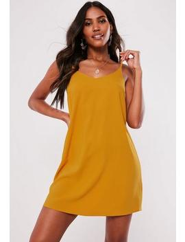 Tall Mustard Crepe Cami Shift Dress by Missguided