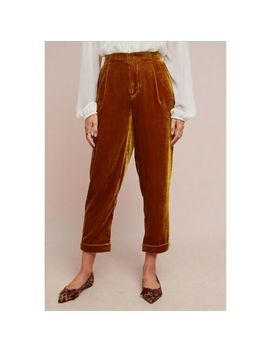 Nwt Anthropologie Cuffed Velvet Trousers Pants Medium Gold By Ett:Twa Msrp $128 by Anthropologie