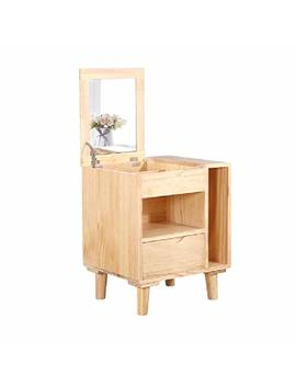 Bedside Table Gjm Shop Bedside Cabinet Pine With Mirror Multifunction Flip Top Dresser Storage Lockers Bedroom Furniture (Color : 1) by Bedside Table