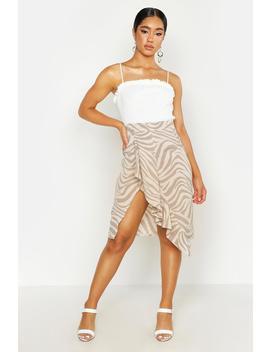 Zebra Print Ruffle Wrap Skirt by Boohoo