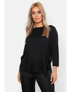 Plus Ribbed Split Crew Neck T Shirt by Boohoo