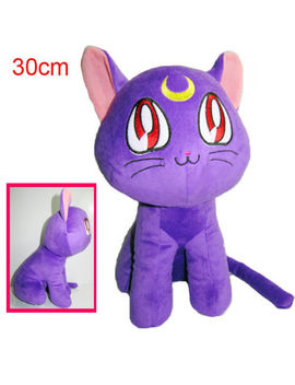 "12""/30cm Sailor Moon 20th Anniversary Luna Cat Purple Sitting Stuffed Plush Doll by Unbranded"