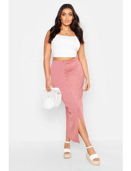 Plus Rib Button Front Split Maxi Skirt by Boohoo