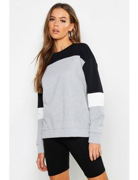Colour Block Oversized Sweat by Boohoo