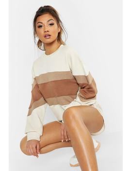 Oversized Contrast Panel Crew Neck Sweat by Boohoo