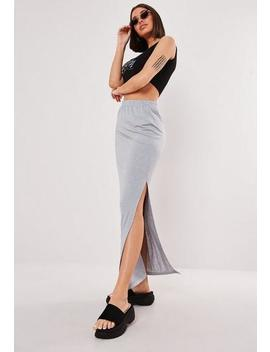 Grey Jersey Side Split Maxi Skirt by Missguided