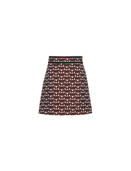 Cotton Jacquard Skirt With Logo by Miu Miu