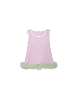 Nylon Top With Feathers by Miu Miu