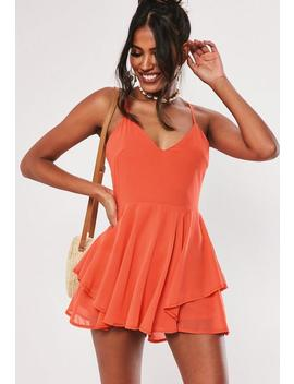 Orange Floaty Chiffon Playsuit by Missguided