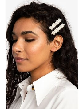 **Pack Of 2 Chunky Pearl Hair Slides by Topshop