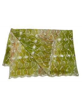 Women Indian Chunari Georgette Vintage Shawl Embroidered Green Dupatta Embdp2532 by Unbranded