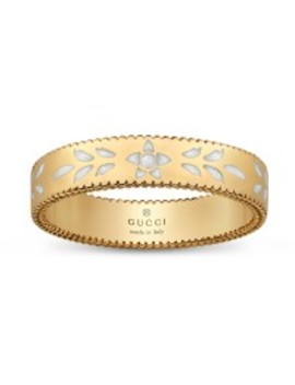 Gucci Icon Blossom Yellow Gold & White Enamel 4mm Ring by Jr Dunn