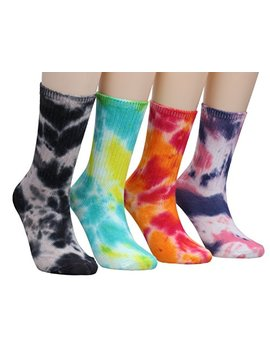 Women Casual Tie Dye Knit Cotton Crew Athletic Socks 4 Pairs Ws56 by Msg