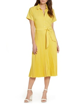 Short Sleeve Pleated Shirtdress by 1901