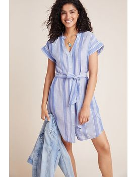 Noreen Striped Linen Shirtdress by Velvet By Graham & Spencer