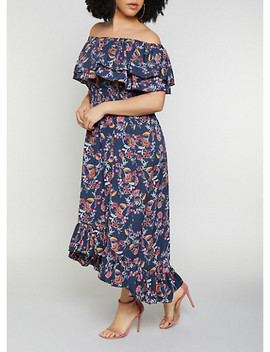 Plus Size Ruffled Off The Shoulder Floral Leaf Maxi Dress by Rainbow
