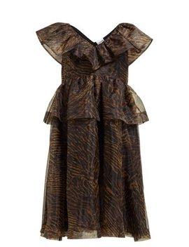 Zebra Print Ruffled Organza Dress by Ganni