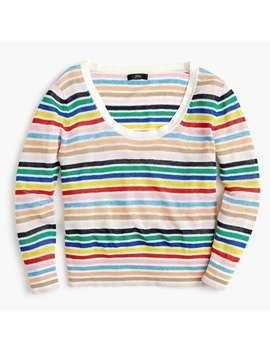Scoopneck Linen Sweater In Rainbow Stripe by J.Crew