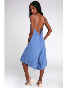 Feeling Groovy Denim Blue Culotte Jumpsuit by Lulus