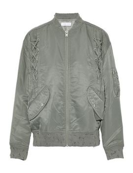 Lace Up Distressed Shell Bomber Jacket by Iro