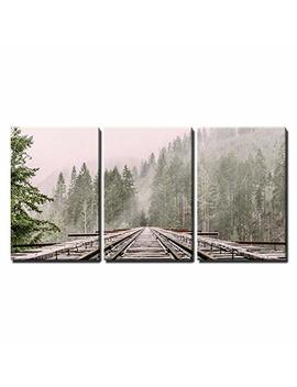 """Wall26   3 Piece Canvas Wall Art   Railway Through The Pine Forest With Mist   Modern Home Decor Stretched And Framed Ready To Hang   24""""X36""""X3 Panels by Wall26"""